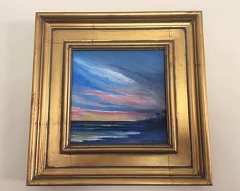 Seascape at Dusk -  Original Acrylic Art  6 X 6 on Canvas Board Framed size 9 1/2 X 9 1/2