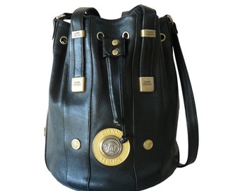 Versace Medusa Black Leather Drawstring Bucket Shoulder Bag Tote Made in Italy