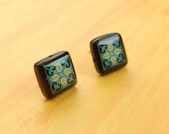 Black Onyx and Sterling Silver Post Earrings, Dark Blue & Yellow Spanish, Mexican, Catalina and Mediterranean Tile Inspired