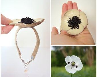 Cream Poppy Bracelet, Floral, Leather Jewelry, Leather Poppy Flower, Statement Bracelet, Beige Poppy Flower, Nature Jewelry, Leather Cuff