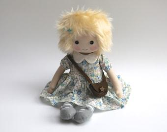Cloth doll, heirloom doll, blonde doll, rag doll, collectors doll, doll in blue, handmade doll