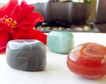 Divine Feminine Crystal Set - Goddess energy, Black Moonstone, Carnelian, Green Aventurine, crystal set, crystal healing
