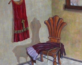 Red Dress, large original painting