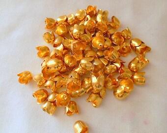 Vintage gold tone tulip shape Beadcaps Finding