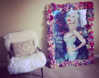 Mixed Media Amanda Lepore Portrait with Fake Flower and Latex Frame // proceeds go to cause/chairty of your choice // 4'x3'