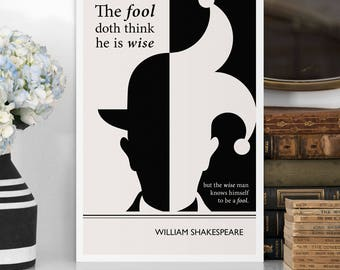 "Literary Art Print, ""Shakespeare"" Large Wall Art Posters, Literary Quote Poster, Illustration, Minimalist Prints, Bookish Gift for Writer"