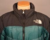 Vintage The North Face Nuptse Down Jacket Green Black Large Rare Color