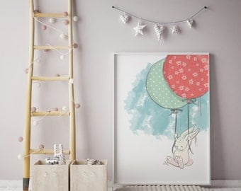 Bunny Prints | Rabbit Prints | Balloon Prints| wall art | rabbit wall art | individual print