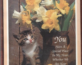 Vintage Stapco Picture of Cat and Daffodils with a Saying Home Decor, 1996