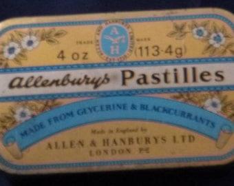 Vintage Allenburys Pastilles Tin Made by Allen & Hanburys Ltd, London, 1950s (empty)