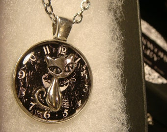 Small Silver Cat Over Clock Pendant Necklace (2311)