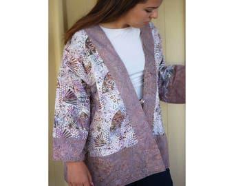 Womens Kimono Jacket, Batik Womens Jacket, Japonoiserie, Kimono Crop Jacket, Womens Crop Jacket Batik