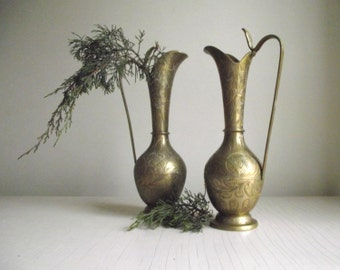 Brass Pitchers Vases , Pair of Etched India Brass Vessels with Cobra Head Handles , Long Neck Brass Vases , Vintage Brass Decor Boho Decor