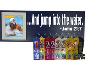 Swim medal holder, bible verse for swimmer, - ... And jump into the water. - john 21:7 , awards, ribbons, medal board, gifts