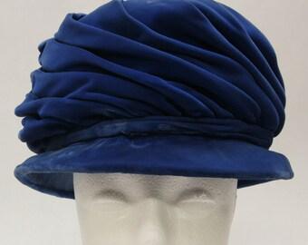 60s Vintage Brentshire Hat- Women's, Blue Velvet, Spiraled
