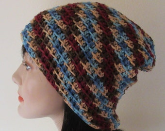 Brown Blue Maroon Crochet Slouchy Hat, Cold Weather Accessory, Large Slouchy Hat, Boho Slouchy Hat, Slouch Hat, Slouch Beanie