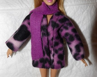 Short coat in purple and black Leopard print Fleece & purple scarf for Fashion Dolls - ed1006