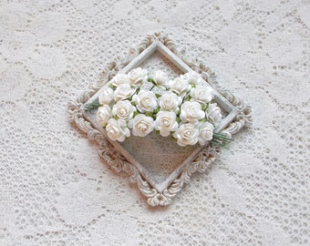 Mini Mulberry Paper Roses, Wedding, Scrapbooking, Mixed media, White