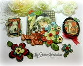 Graphic 45 It's Raining Cats and Dogs Paper Embellishments and Paper Flowers for Scrapbook Layouts Cards Mini Albums Tags and Papercrafts