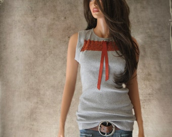 Tank top gray/front lace stripe/rhineston grosgrain bow/sleeveless knit tee