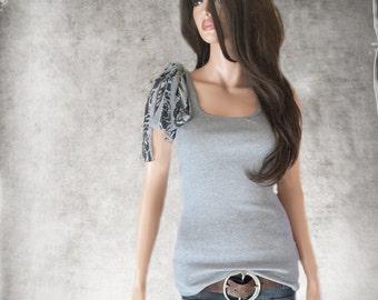 Gray shoulder bow tank/stripe rose print/Adjustable shoulder bow/Sleeveless women tee