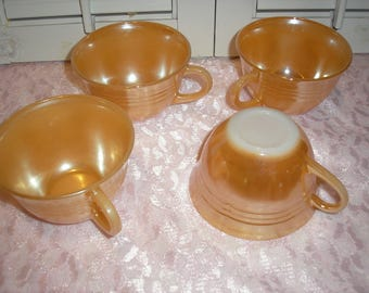 Vintage;Peach Fire King Coffee tea cups Lot (4)