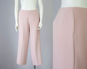 90s Vintage Bloomingdale's Blush Satin Piping Mid Rise Trouser Pants (S)