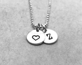 Mother's Necklace, Letter Z Necklace with Heart Charm, Sterling Silver, All Letters Available, Initial Necklace, Hand Stamped Jewelry