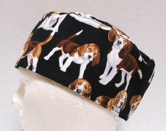 Mens Scrub Hat,  Veterinarian Scrub Cap, Surgical Cap with Beagles