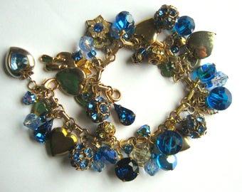 Blue & Gold Vintage Elements Hearts Charm Bracelet