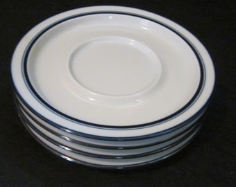 4 Dansk Bistro Christianshavn Blue Saucers - White with Blue Band - Danish Modern Dinnerware
