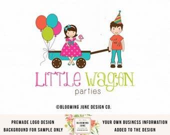 Girl and Boy Logo Party Logo Design Bespoke Logo Design Premade Logo Design Wagon Logo Design Balloon Logo Design Kids Logo Design