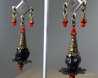 Skull O Rama Long Sugar Skull Earrings on Hooks with Bronze Accent Custom Made for Your Style Tibetan Dia de los Muertos Goth Buddhist Style