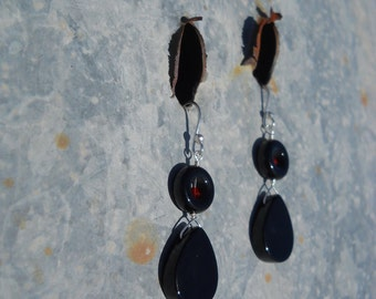 Onyx Black and Red Siam Swarovski Basic Black and Red Sterling Silver Hook Earrings Little Black Dress SDSU Colors