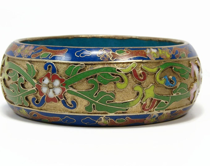 Chinese Cloisonne Bangle Bracelet,  Champleve Enamel, Gold Gilt, Vintage Jewelry, Blue Bangle, Estate Jewelry, Chinese Export