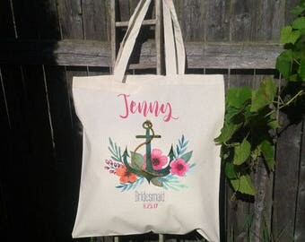 Anchor Wedding Tote Favor, Wedding Welcome Tote Bag, Bridal Party Favor