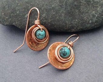 Genuine Turquoise Drop Earrings in Copper 14k Pink Gold Filled Small Earrings Modern Rustic Mixed Metal Jewelry December Birthstone