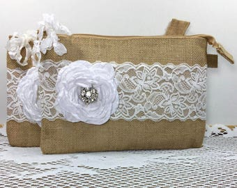 7 Bridesmaid Clutches, Burlap Lace Wedding Clutches, Bridesmaid Gifts, Rustic Wedding, Bridesmaid Bags, Wedding Party Gifts, Wedding