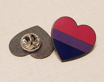 Bisexual Flag Heart - Enamel Pin