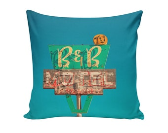 READY TO SHIP | B&B Motel Sign 16x16 Pillow Cover | Travel Trailer Decor | Mid Century Pillow | Retro Home Decor | Decorative Pillow Cover