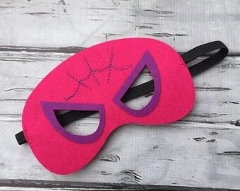 Layered Spidergirl Felt Mask  Spidergirl Mask Superhero Mask Birthday Mask