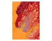 Red Dragon - Fantasy ACEO Original Art Card - Miniature Drawing