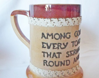 Antique Doulton Lambeth salt glazed Stoneware Motto Ware MUG Tankard STEIN