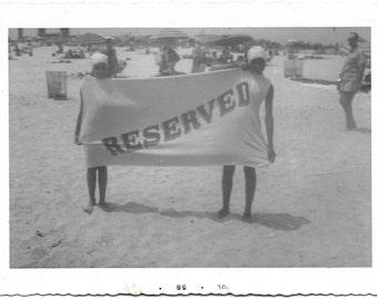 Vintage snapshot photograph Black Americana Beach
