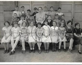 Rural Class Photo  Vintage snapshot photograph