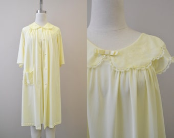 1960s Shadowline Yellow Gown and Robe Set