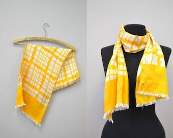 1960s Gino Paoli Silk Yellow Plaid Scarf