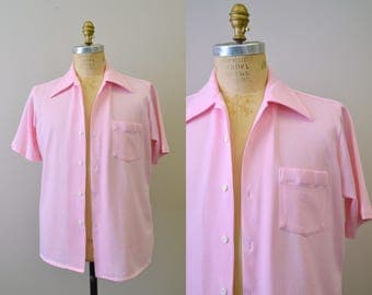 1970s Pink Polyester Men's Button Front Shirt
