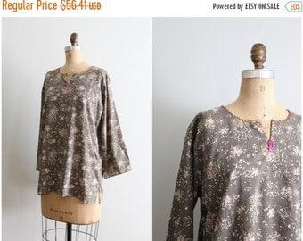 FALL SALE / soft India batik cotton tunic top - beaded bohemian blouse / Mushroom Brown - festival boho shirt / 70s cotton top - vintage hip