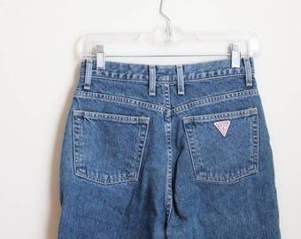 SPRING SALE vintage 1980s Guess jeans - 80s high waisted jeans / 80s designer jeans - Guess Jeans logo denim / vintage denim cutoffs - ladie